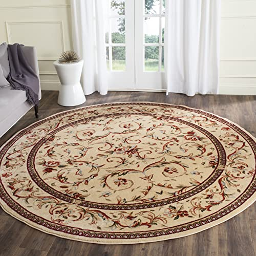 Safavieh Lyndhurst Collection LNH322A Traditional Scrolling Vines Ivory Round Area Rug 5'3″ Diameter
