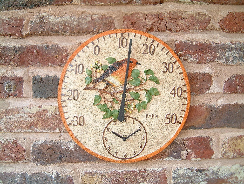 Von Hand bemalter, 30 cm groß es Wandthermometer mit Uhr in Schleiereule-Design fü r den Auß enbereich Home and Garden Products Ltd