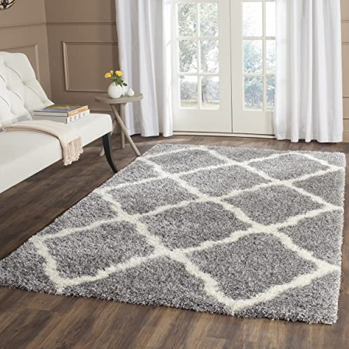 Safavieh Montreal Shag Collection SGM866D Grey and Ivory Area Rug 4 x 6