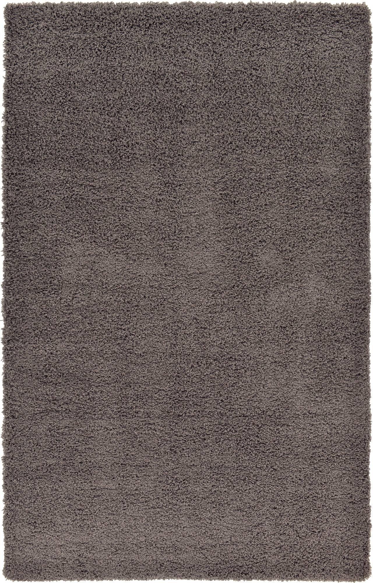 Unique Loom Solo Solid Shag Collection Modern Plush Graphite Gray Area Rug (5' 0 x 8' 0)