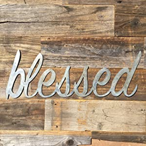 The Heritage Forge Rustic Home, Blessed Sign 22 x 8, Farmhouse, Metal Words, Kitchen Wall Decor, Home Decor, Farmhouse Sign…