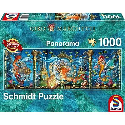 Schmidt Spiele Puzzle 59613 Ciro Marchetti Underwater World 1000-Piece Panorama Puzzle Multi-Coloured: Toys & Games