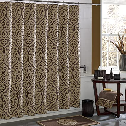Superbe Five Queens Court Lafayette Jacquard Damask Shower Curtain, Mink