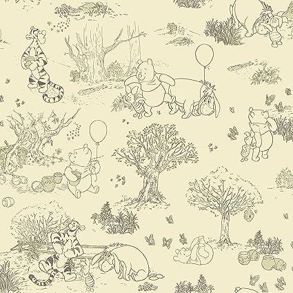 York Wallcoverings Disney Kids Iii Pooh Friends Toile Removable Wallpaper Beige
