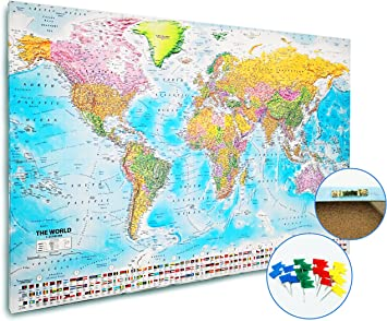 Weltkarte Pinnwand Xxl 2020 Maps In Minutes 120cm X 80cm Amazon