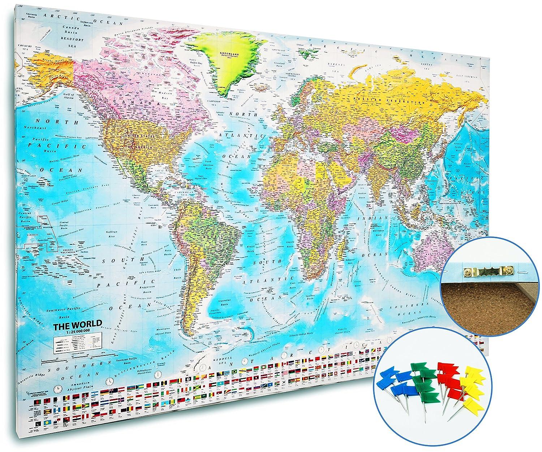 Bacheca-Planisfero - 20 bandierine/segnabacheca - Pianificazione viaggi - Mappa istruttiva/Carta 2018 (120x80 cm) Close Up