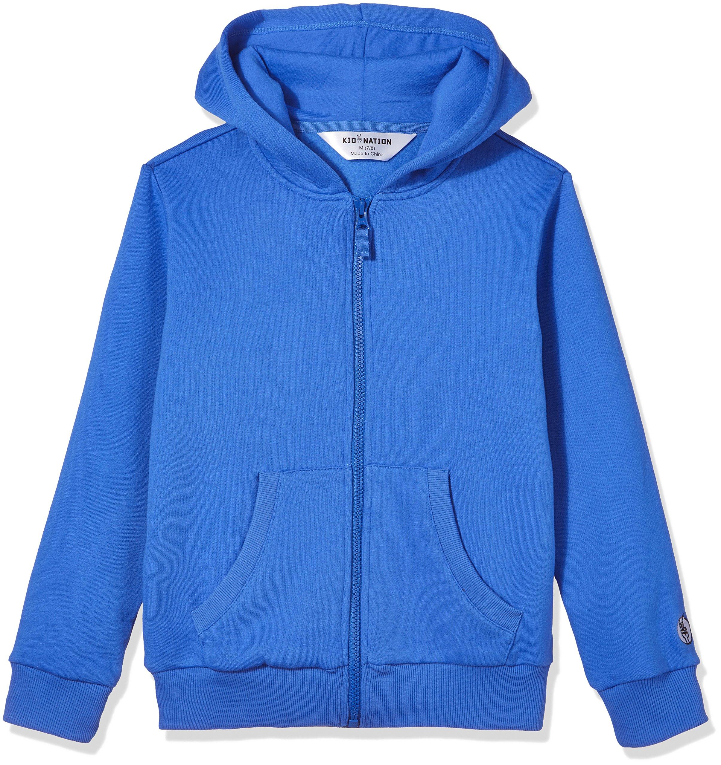 Kid Nation Kids' Brushed Fleece Zip-up Hooded Sweatshirt for Boys Girls M Gray Blue