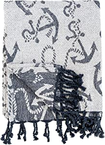C&F Home Chenille Anchor Nautical Sailing Reversible Handcrafted Throw Blanket with Fringe Cotton Soft Cozy for Couch Sofa 50 x 60 Throw Blue, Navy, Navy Blue, White