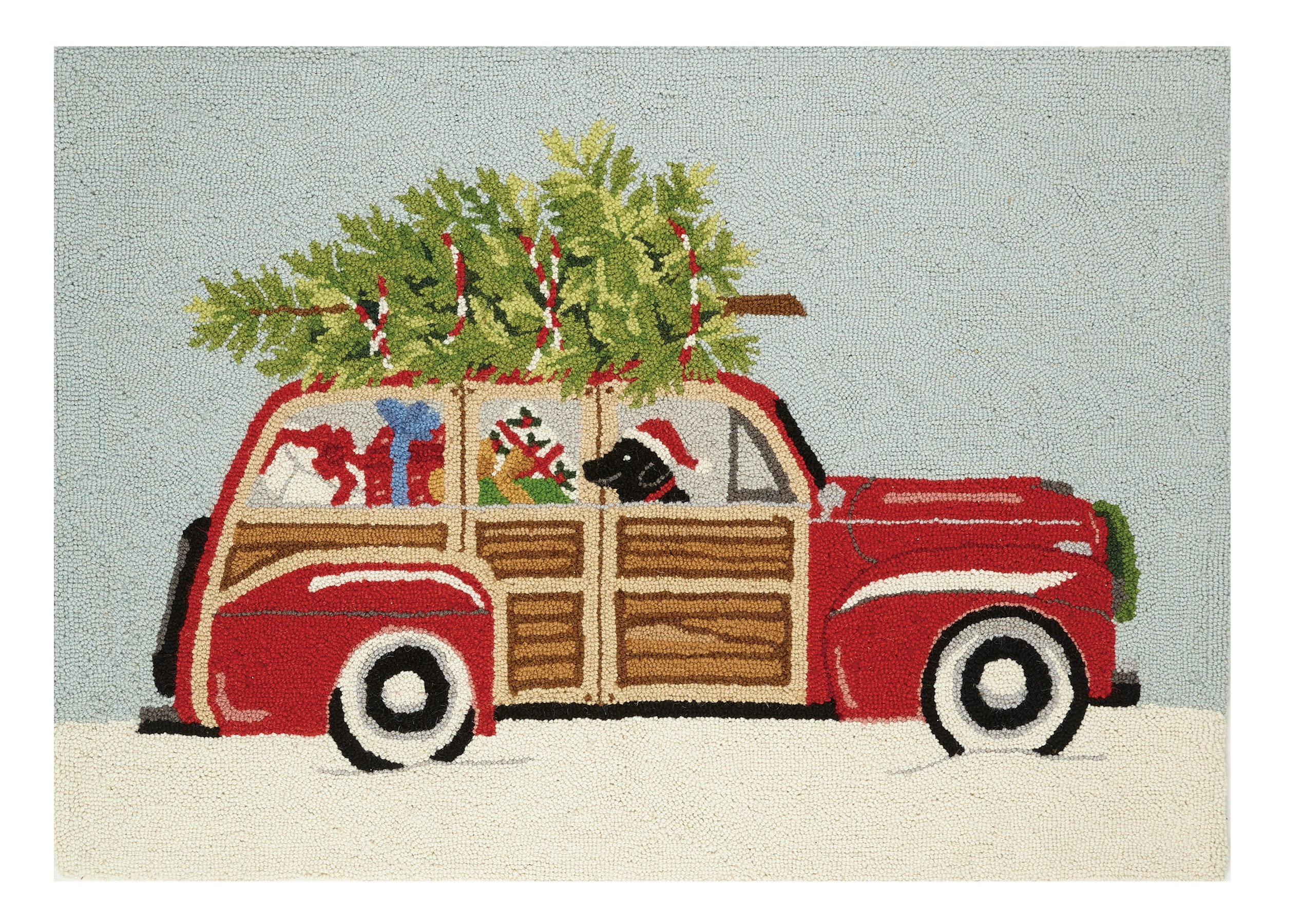 Peking Handicraft Station Wagon Area Rug Pillow, Red/Green