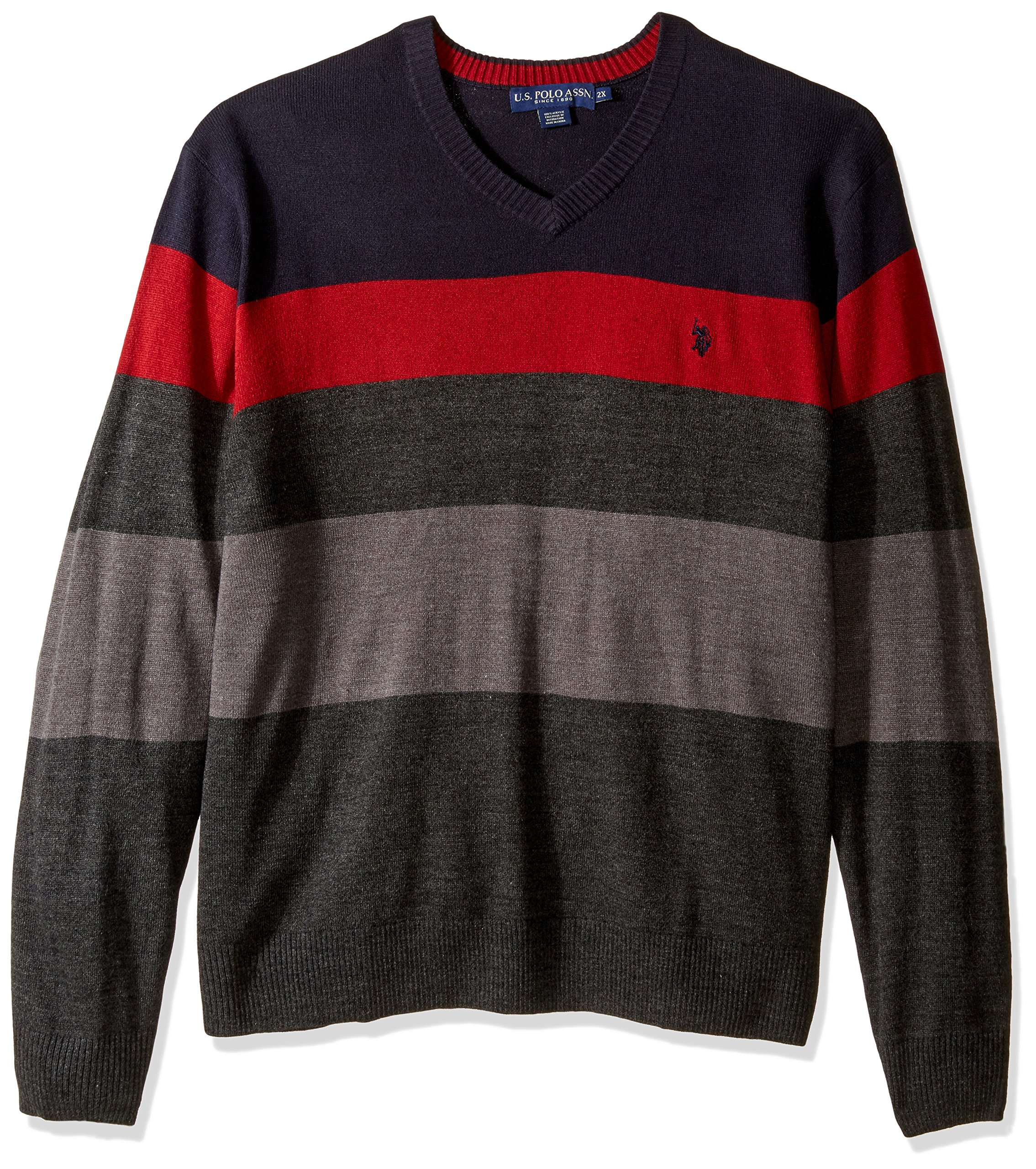 U.S. Polo Assn. Men's Big-Tall Striped V-Neck Sweater, Navy, 2X by U.S. Polo Assn. (Image #1)