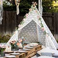 Tiny Land Huge Teepee Luxury Lace Tent for Wedding, Party, Photo Prop (7.5 Feet Tall) 5-Poles Lace Canopy for Indoor…