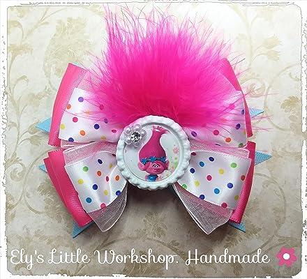 Trolls, Disney POPPY inspired character Hair Bows, 100% Handmade, French barrette 2