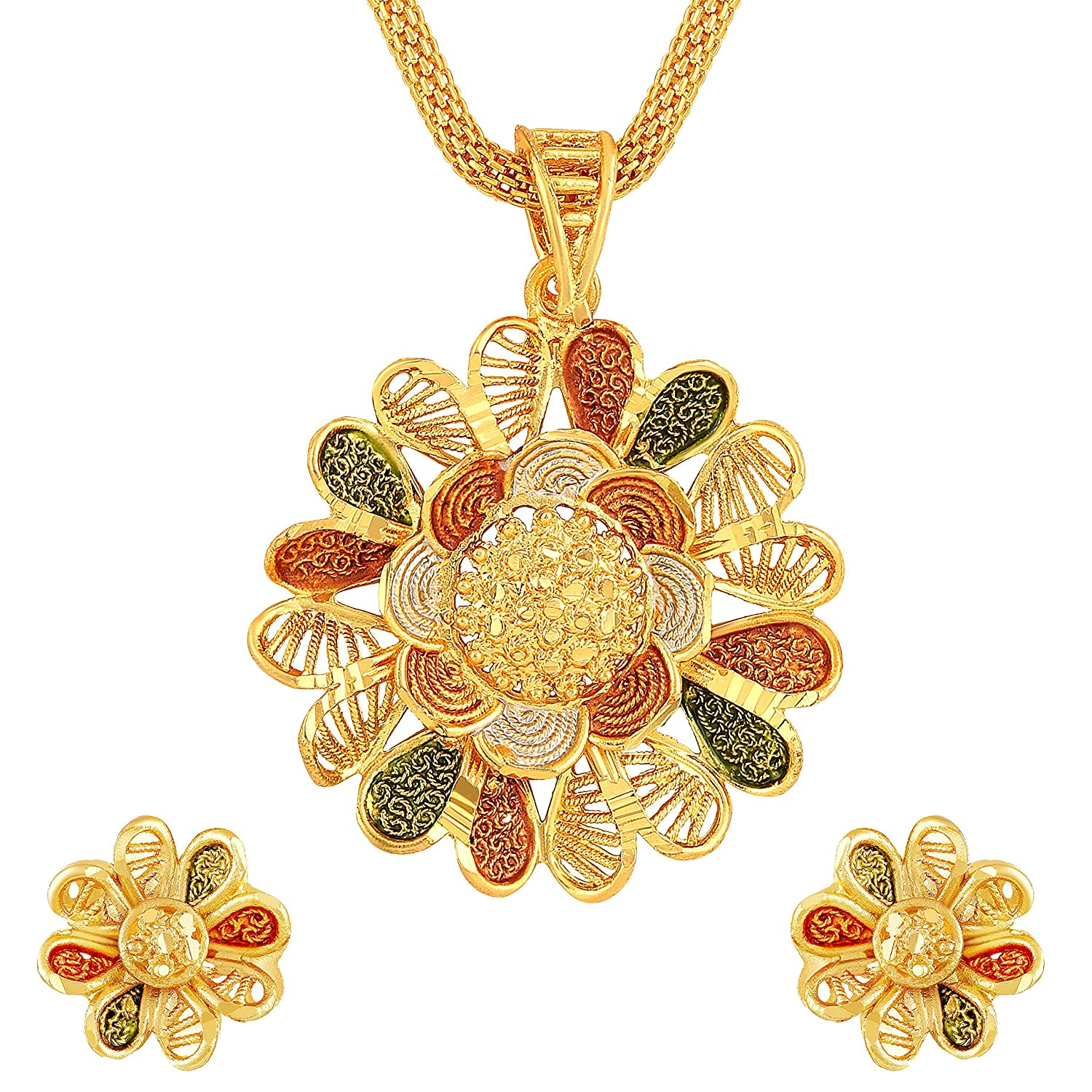 Buy Asmitta Flower Design Gold Plated Matinee Style Meenakari Work