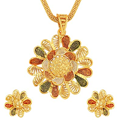 8f31efec5 Buy Asmitta Flower Design Gold Plated Matinee Style Meenakari Work Pendant  Set for Women Online at Low Prices in India
