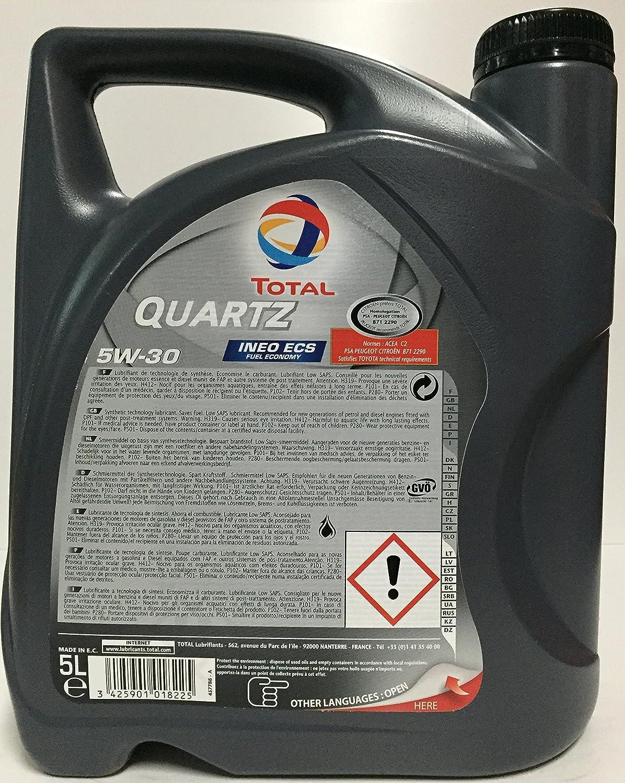 Aceite de motor TOTAL QUARTZ INEO ECS 5W30 6 litros (1x5 lts + 1x1 lt): Amazon.es: Coche y moto