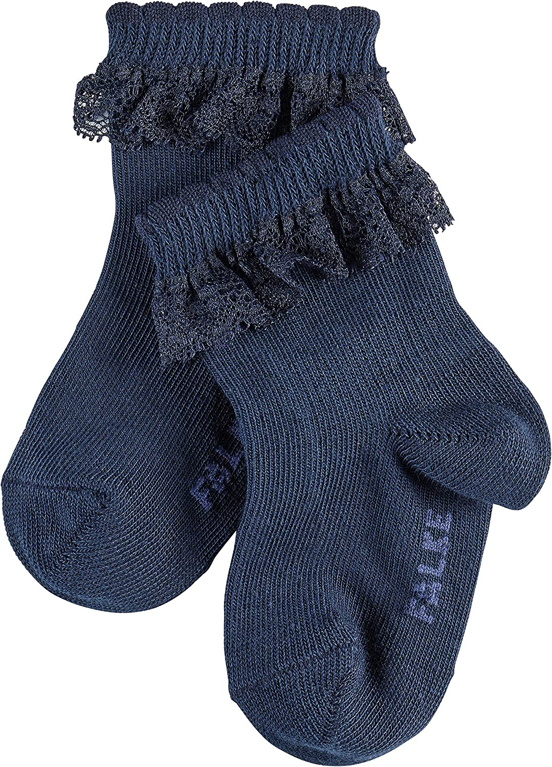 Cotton Blend 1 Pair ideal for festive occasions Navy or Pink In White FALKE Baby Romantic Lace Socks Sizes 1-18 months Skin friendly easy care
