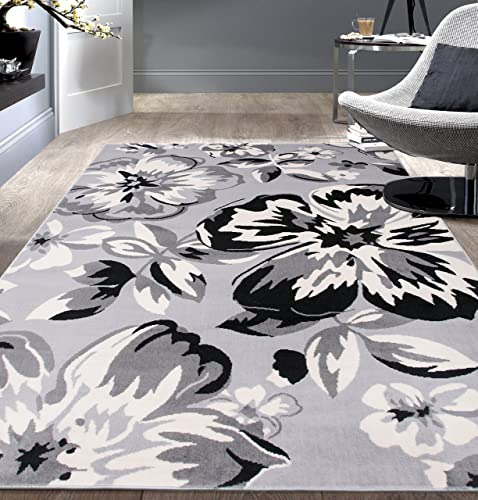 Modern Floral Area Rugs 10' x 14' Gray