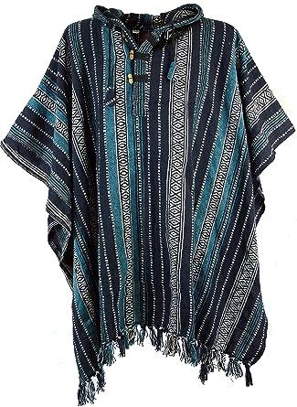 GURU-SHOP, Poncho Hippie Chic, Poncho Andino, Azul/Negro, Algodón, Tamaño:One Size, Chaquetas y Ponchos: Amazon.es: Ropa y accesorios
