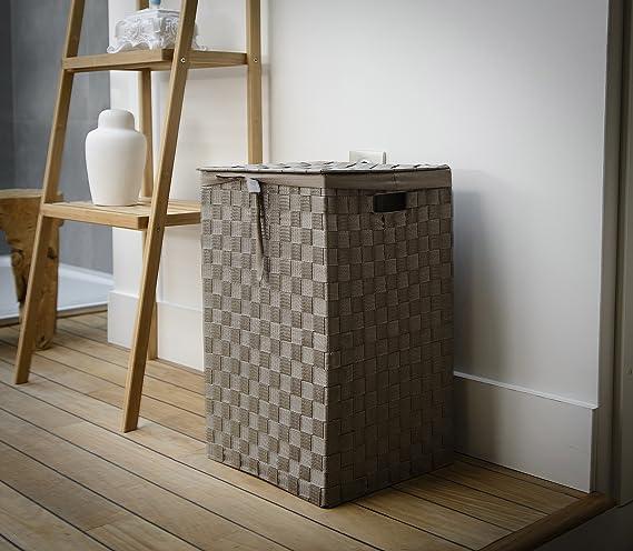 Compactor incrustaciones de 38 cm cinturón Tex rayón cesta para la ropa sucia con tapa y lino en el interior, marrón: Amazon.es: Hogar