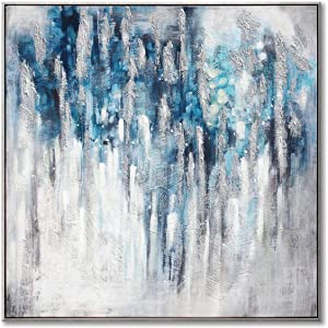 """UTOP-art Large Abstract Wall Art Painting: Navy Blue Modern Artwork Gray Picture with Silver Foil on Canvas for Office Living Room Decor ( 36"""" x 36"""" Framed )"""