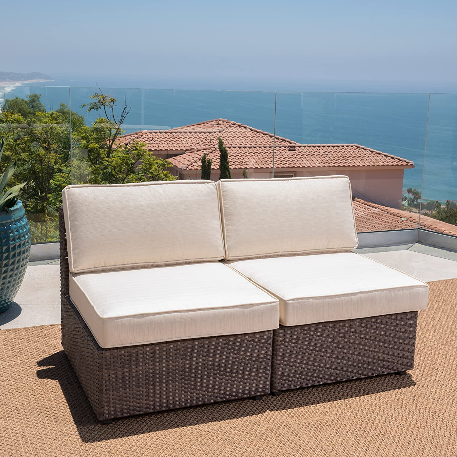 Christopher Knight Home GDF Studio Set of 2 Santa Cruz Outdoor Hazelnut Brown Wicker Armless Sectional Sofa Seat with Beige Water Resistant Cushions