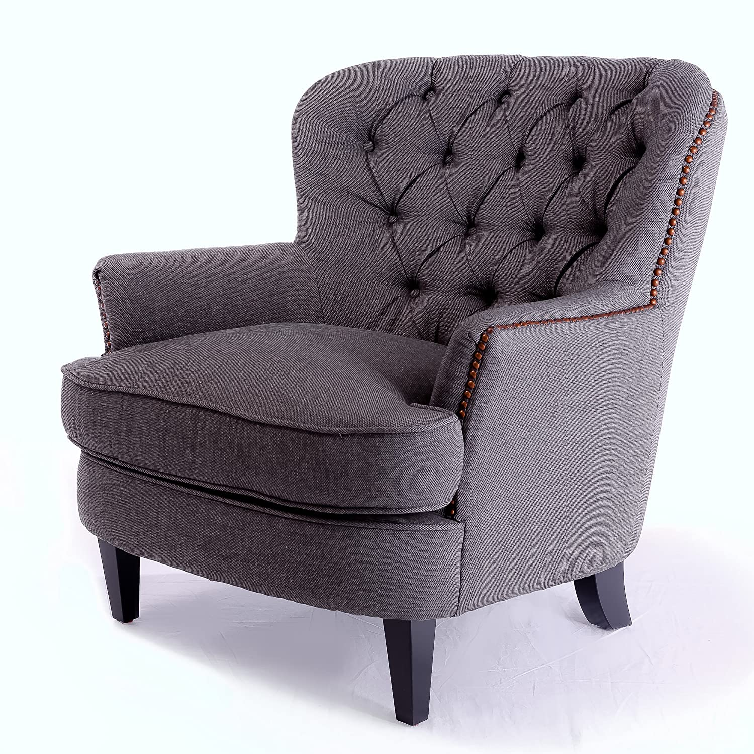 amazoncom alfred tufted grey fabric club chair kitchen  dining -