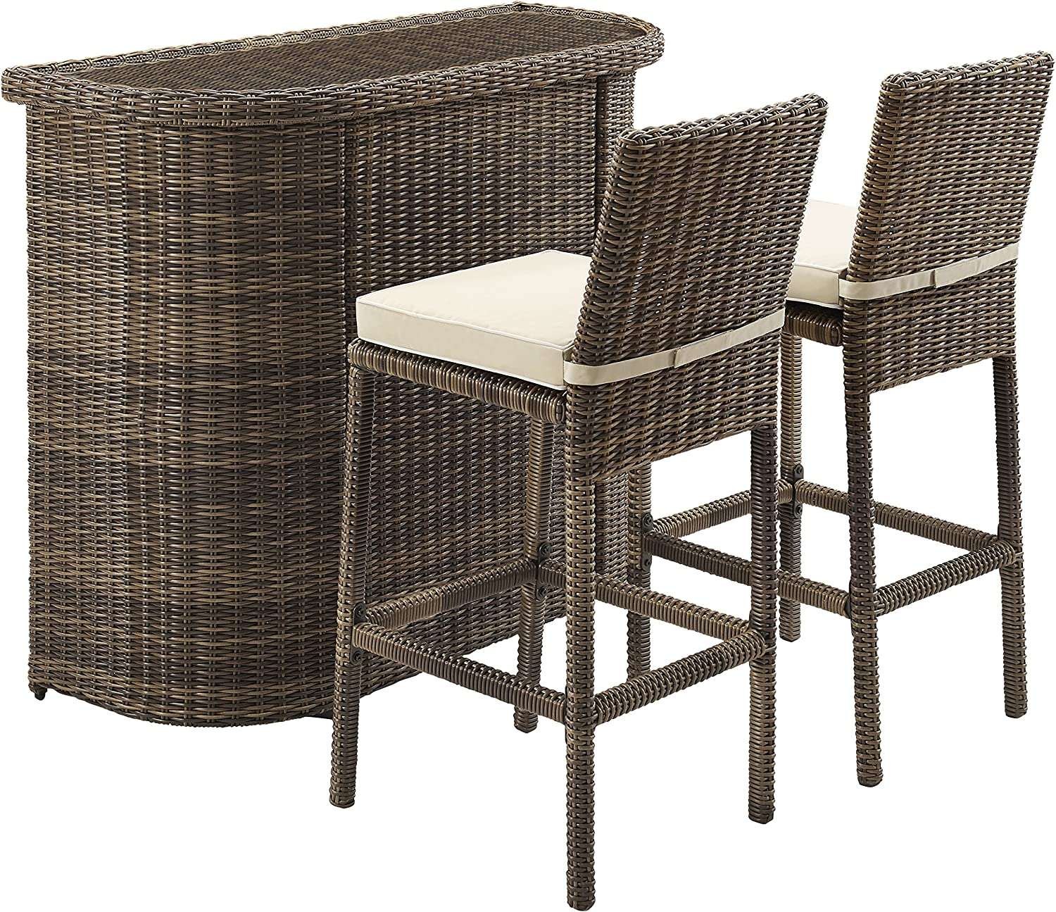 Crosley Furniture 3-Piece Bradenton Outdoor Wicker Bar Set with Two Stools and Cushions – Sand