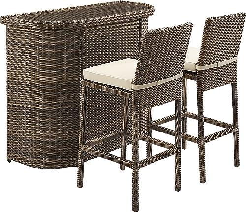 Crosley Furniture KO70045WB-SA Bradenton Outdoor Wicker Glass Top Bar Set