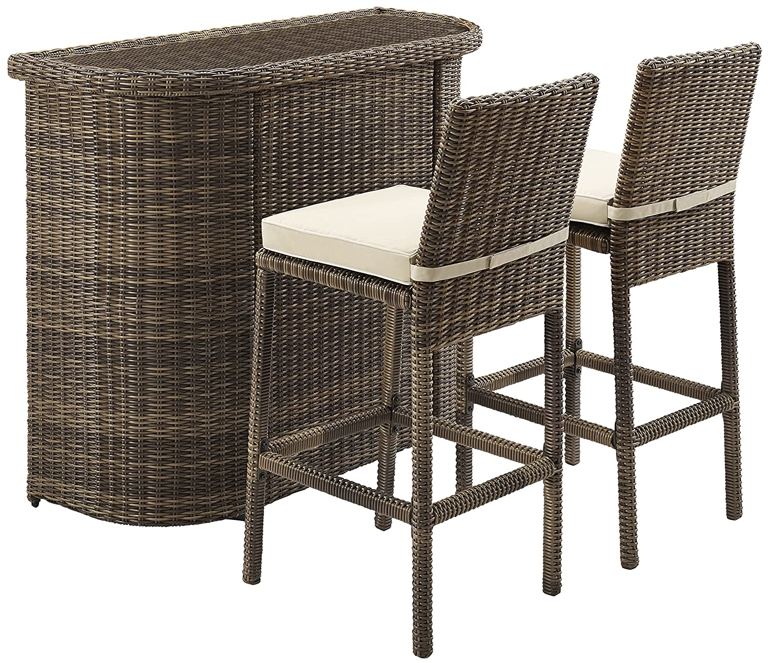 Crosley Furniture 3-Piece Bradenton Outdoor Wicker Bar Set with Two Stools and Cushions - Sand