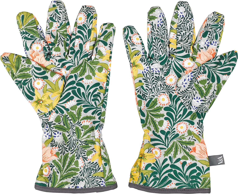V&A VA038 William Morris 100% Cotton Gardening Potting Hand Gloves, One Size, Green