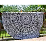 Round Beach Towel Boho Throw Hippie Tapestry Cotton Table Cloth Meditation Yoga Mat Rugs by Raajsee (Black White Elephant)