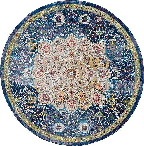 Nourison Global Vintage Blue Multicolor Oushak Area Rug 6' x 6' ROUND