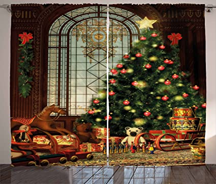 ambesonne christmas curtains magical vintage ambiance big old fashioned window xmas tree various presents