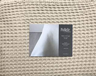 Matelasse Queen Size Quilt/Coverlet Neutral Beige Waffle Textured Pattern PiuBelle Portugal Bedding Cotton Solid