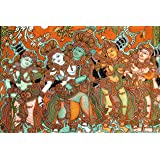 "Kalyanam-Kerala Mural Art(Unframed Canvas Prints)- 24""x16"""