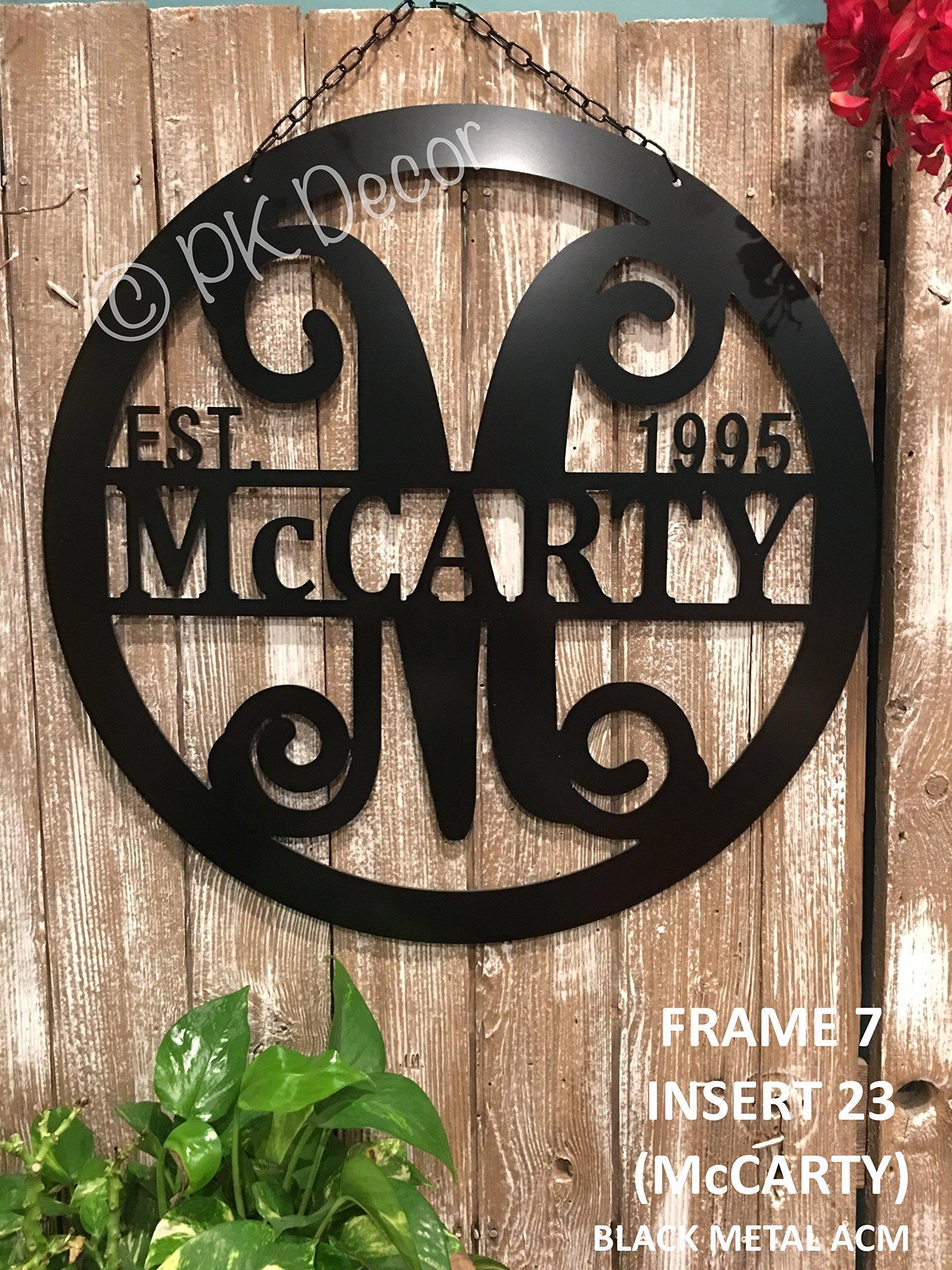 Personalized Last Name Door Hanger - 24'' ACM Metal Monogram Door Hanger- Metal Last Name Sign - Established Family Sign - Initial Door Wreath - Personalized Last Name Wall Decor - Metal Wall Decor