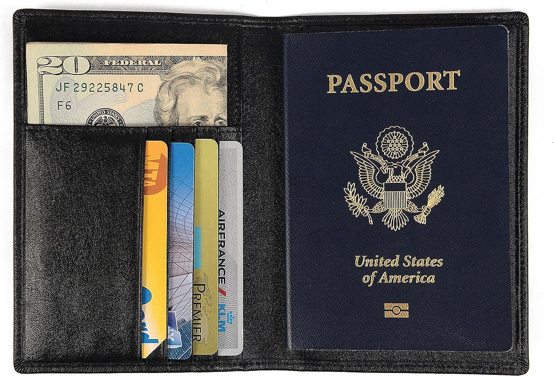 Porta Pasaporte/Funda de Nomalite | Organizador de Documentos de Viaje Hombre y Mujer con protección RFID, Cartera Piel en Cuero sintético Negro y 4 Huecos para Tarjeta de crédito y Billete.: Amazon.es: