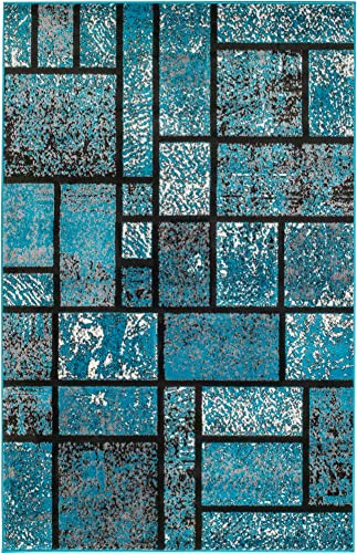 Summit 41new Turquoise Geometric Area Rug Modern Abstract Rug Many Available , 22 Inch X 35 Inch Scatter Door MAT Size