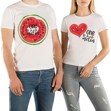 VIVAMAKE® Pack 2 Camisetas para Mujer y Hombre Originales con Diseño One In A Melon: Amazon.es: Ropa y accesorios