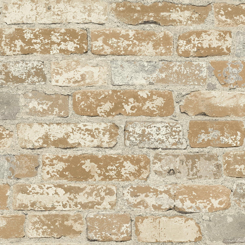 RoomMates Brown Stuccoed Brick Peel and Stick Wallpaper