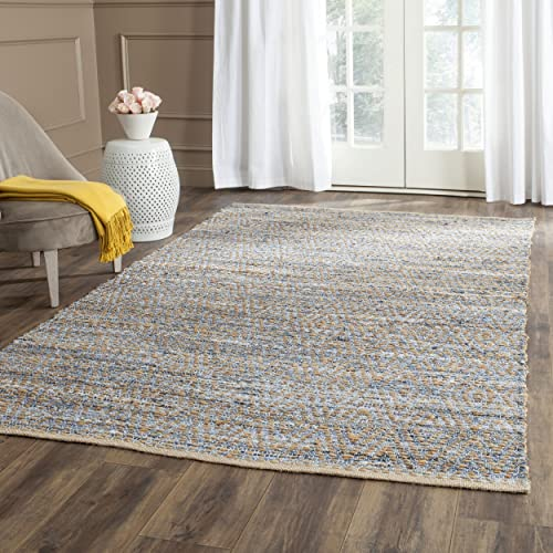Safavieh Cape Cod Collection CAP350A Hand Woven Flatweave Chevron Natural and Blue Jute Area Rug 4 x 6