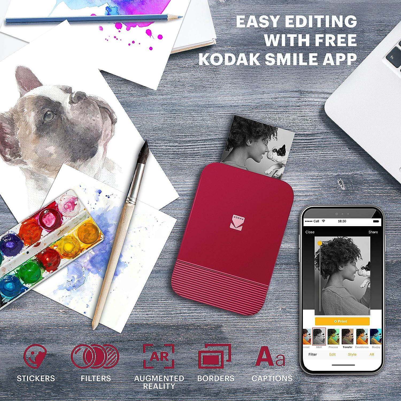 Pop-Open Bluetooth Mini Printer for iPhone /& Android KODAK Smile Instant Digital Printer Print /& Share 2x3 Zink Photos w//Free Smile App Blue Edit