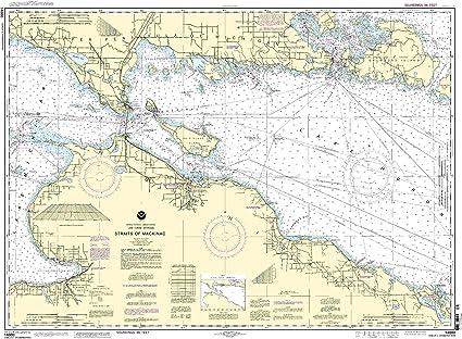 Amazon.com: NOAA Gráfico 14880: estrecho de Mackinac: Sports ...
