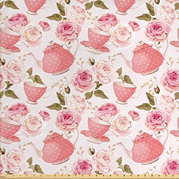Amazoncom Ambesonne Floral Fabric By The Yard Vintage Tea Cups
