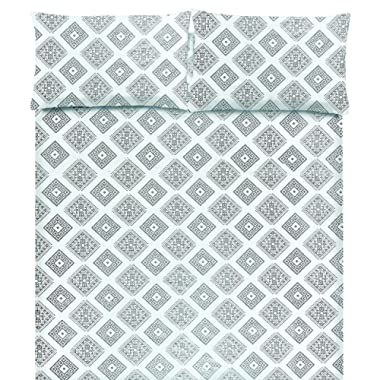 Posh Home Metallic Foil Print 4 Piece Sheet Set (Queen, Aztec Silver-White)