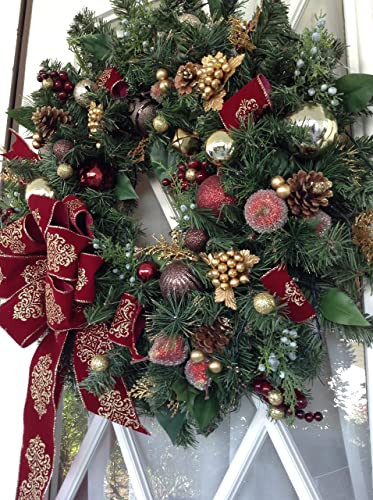 elegant christmas wreath pre lit pre decorated led light with timer option - Elegant Christmas Wreaths
