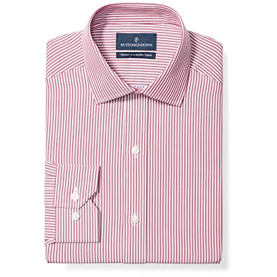 Brand - BUTTONED DOWN Men's Tailored Fit Stripe Dress Shirt, Supima Cotton Non-Iron: Clothing