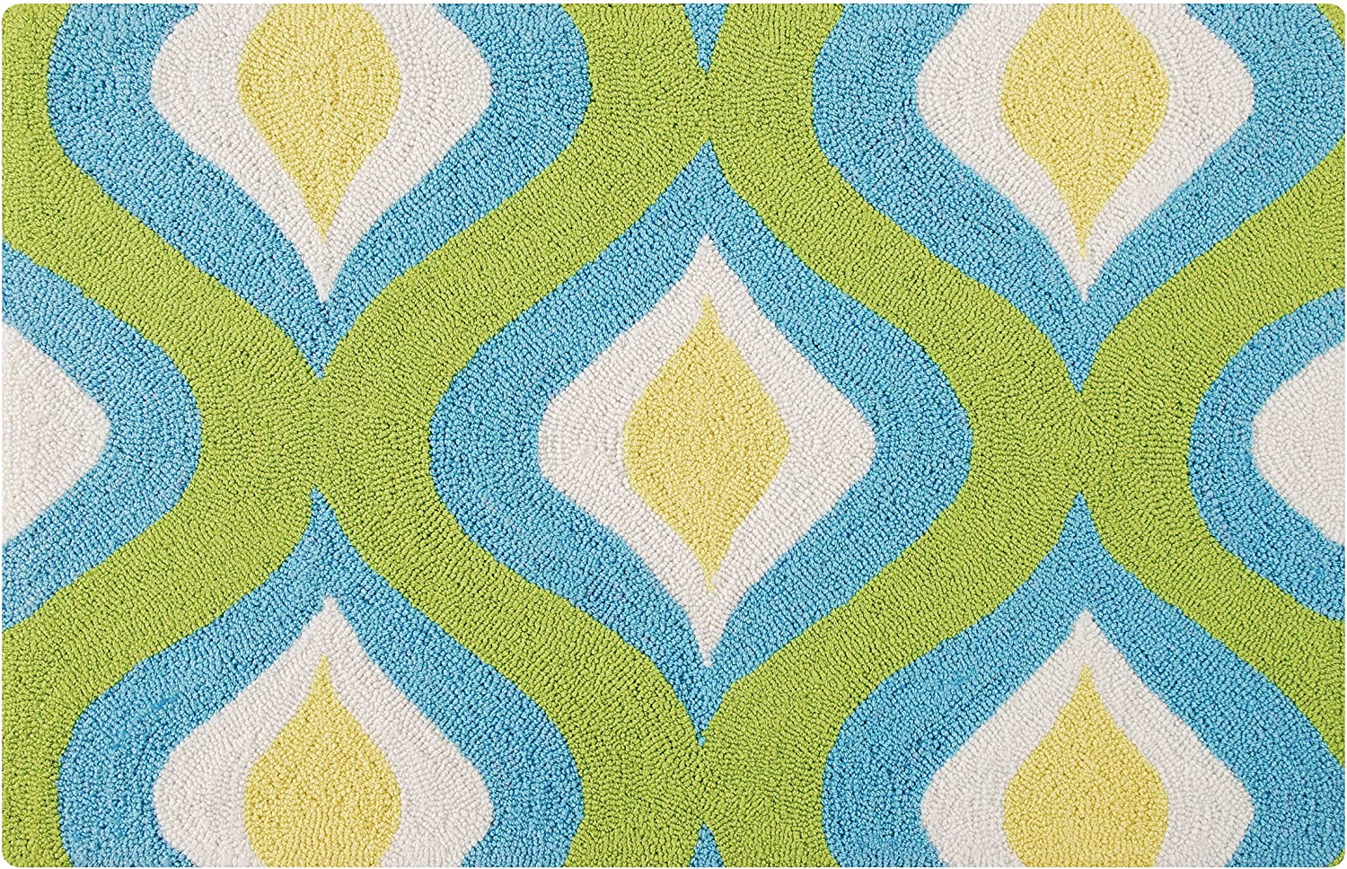 C&F Home Blue Green & Yellow Geometric Retro Mid Century Modern Spring Summer Traditional Premium Handmade Hooked Indoor Area Rug 22x34 Rug Green