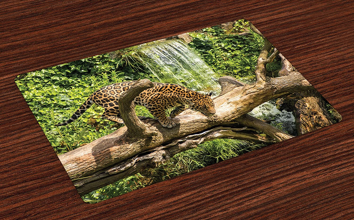 Lunarable Safari Place Mats Set of 4, Jaguar Cat on Tree Trunk Waterfall Endangered Species Wild Life Fast Animal, Washable Fabric Placemats for Dining Table, Standard Size, Brown Green