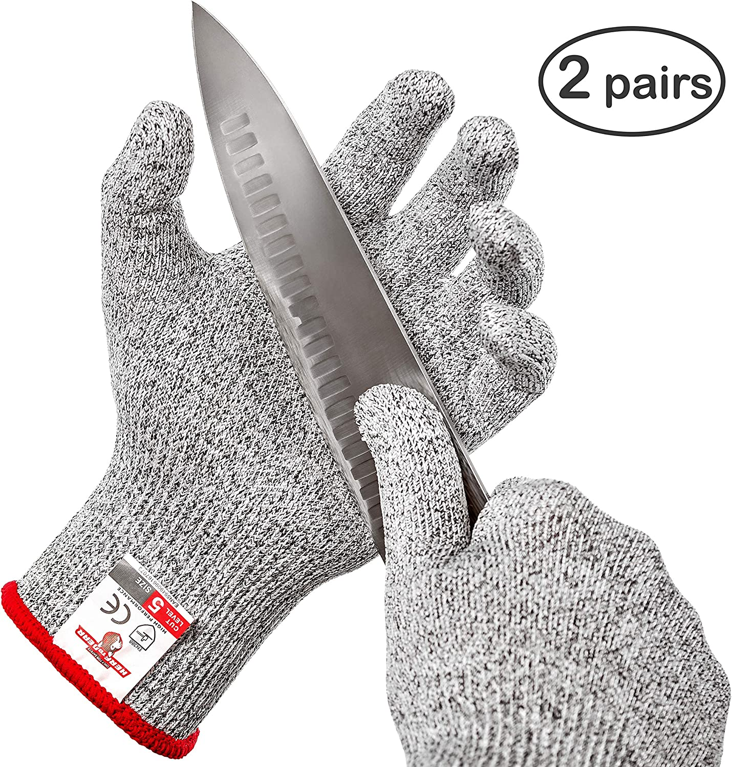 HereToGear Cut Resistant Gloves - 2 PAIRS XL - Food Grade, Level 5 Protection, Safety for Chef using Mandoline Slicers - FDA Test